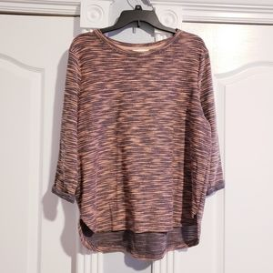 H&M Marled Gray and Pink Pattern Sweater